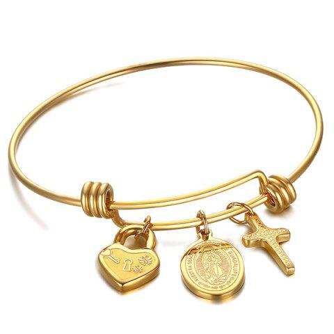 Crucifix Virgin Mary Heart Lock Bracelet - GOLDEN