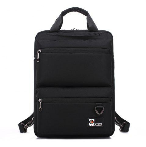 Unique Pocket Nylon Zippers Backpack BLACK