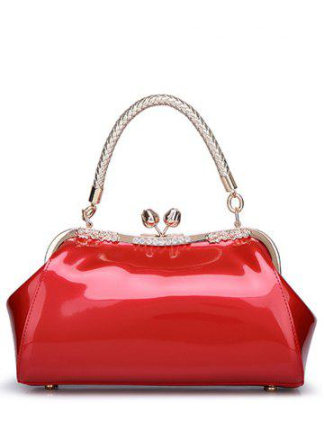 Hot Vintage Kiss Lock Patent Leather Handbag RED