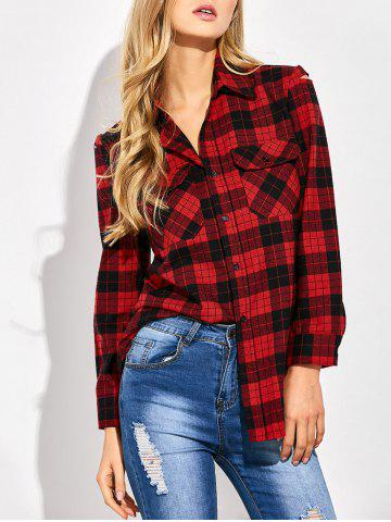 Shop Casual Tartan Check Oversized Shirt RED/BLACK 2XL