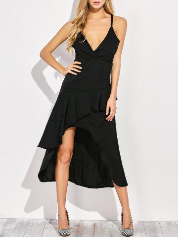 Unique Open Back Ruffled Dress BLACK 2XL