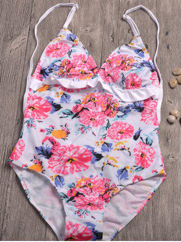 Discount Floral Print Backless Swimwear