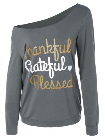 Cheap Thanksgiving Skew Collar Letter Graphic Tee GRAY L