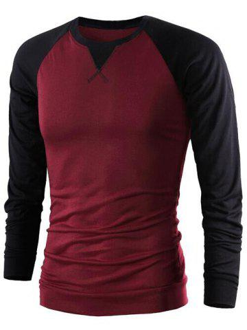 Fancy Color Splicing Round Collar Raglan Sleeve T-Shirt WINE RED M