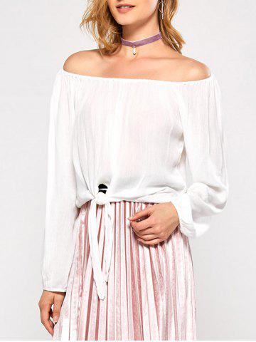 Store Off The Shoulder Bubble Sleeve Blouse WHITE 2XL