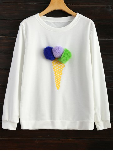 Icecream Cone Sweatshirt Blanc 2XL