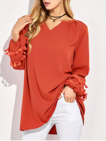 Best V Neck Long Sleeve Tassel Blouse RED 2XL