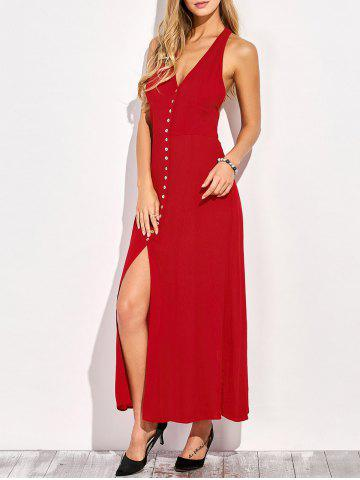 Hot Plunging Neck Racerback Front Slit Maxi Club Dress