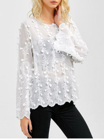 Store Flare Sleeves Floral Embroidered Chiffon Blouse WHITE XL