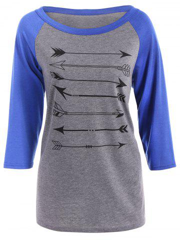 Outfits Arrow Print Raglan Sleeves T-Shirt BLUE XL