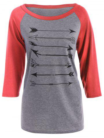 Outfit Arrow Print Raglan Sleeves T-Shirt RED S