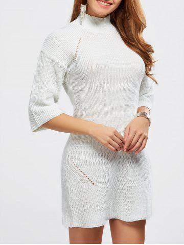 Shop High Neck Hollow Out Knitted Casual Dress WHITE ONE SIZE