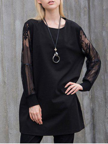Floral Lace Panel Tunic T-Shirt