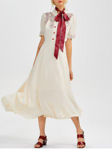 Fashion Floral Embroidered Going Out Swing Dress
