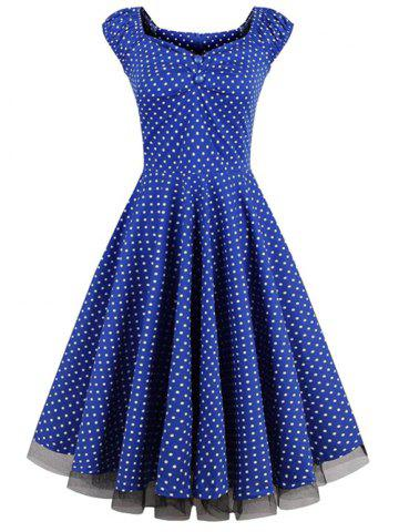 Outfit Polka Dot Party Cap Sleeve Lace Trim Dress