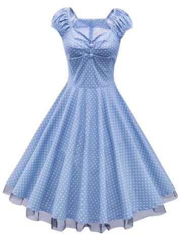 Sale Polka Dot Party Cap Sleeve Lace Trim Dress CLOUDY M