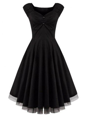 Chic Lace Panel  Ruched Swing Dress