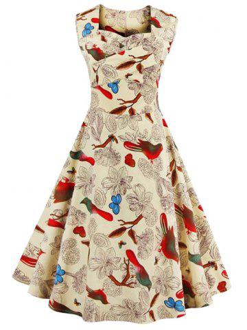 Trendy Sleeveless Flower Print Vintage Swing Dress