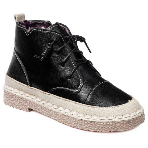 Trendy Stitching Colour Block Tie Up Ankle Boots