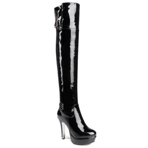 Affordable Platform Patent Leather Buckle Strap Thigh Boots