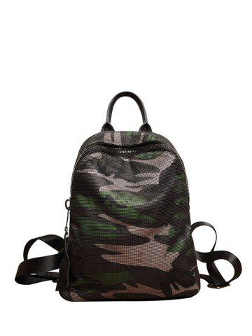 Camouflage Print Mesh Panel Backpack - GREEN