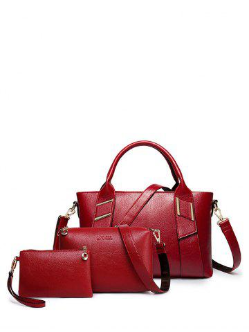 Online Textured PU Leather Metal Handbag Set