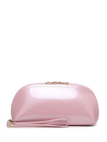 Fashion Stitching Zip Around Patent Leather Wristlet