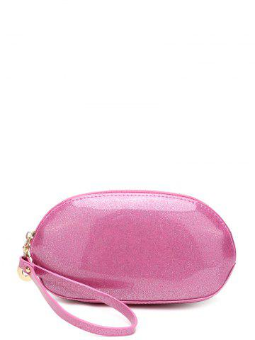 Fancy Zip Around Patent Leather Wristlet PINK
