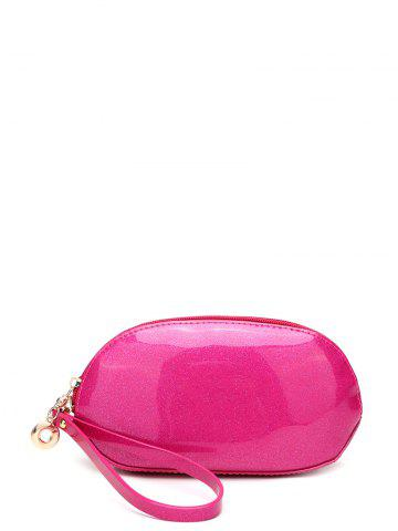 Unique Zip Around Patent Leather Wristlet - ROSE RED  Mobile
