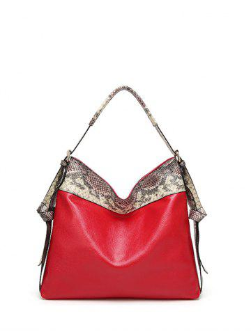 Store Snake Pattern Panel PU Leather Shoulder Bag