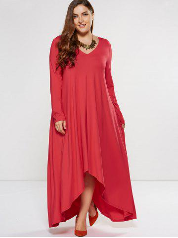 Plus Size Asymmetrical Smock Maxi Dress With Long Sleeves - Red - 5xl