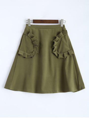 Buy High Rise Line Skirt Pockets - Army Green XS