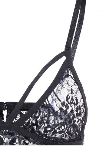 New Back Closure See Through Lace Seamless Bustier Bra - S BLACK Mobile
