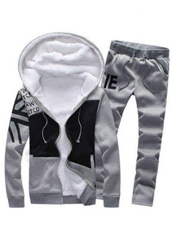 New Zip Up Color Block Printed Hoodie and Sweatpants