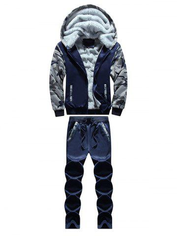 Hot Zip Up Camouflage Panel Hoodie and Sweatpants DEEP BLUE 4XL