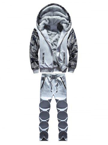 Zip Up Camouflage Panel Hoodie and Sweatpants - Light Gray - Xl