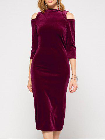 Latest Velvet Cold Shoulder Long Bodycon Dress