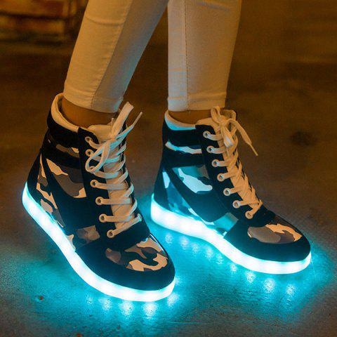 Shop High Top Camo USB Charging Flashing Sneakers BLACK 39