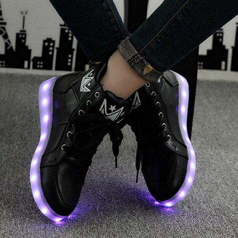 Latest Light Up Flashing Sneakers - 38 BLACK Mobile