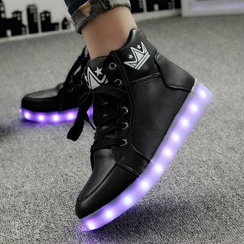 Outfit Light Up Flashing Sneakers - 38 BLACK Mobile