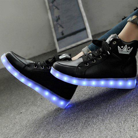 Online Light Up Flashing Sneakers - 38 BLACK Mobile