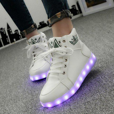 Latest Light Up Flashing Sneakers - 39 WHITE Mobile