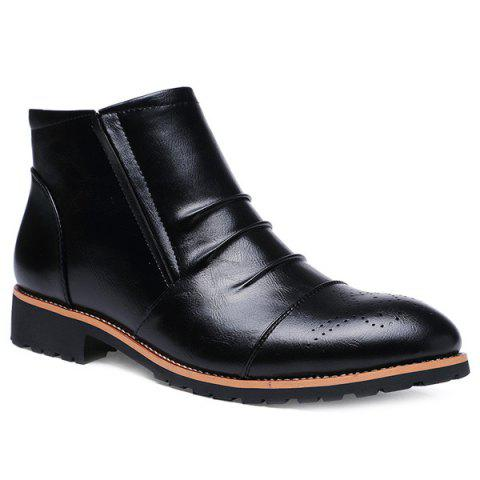 Fancy Pleated Engraving Zip Boots