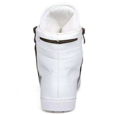 Affordable Colour Block Double Zipper Tie Up Boots - 44 WHITE Mobile