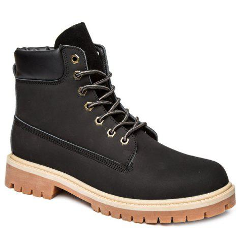 Suede PU Leather Lace Up Boots - Black - 41