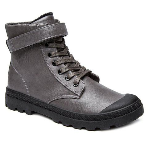 Shop Metal Tie Up PU Leather Boots