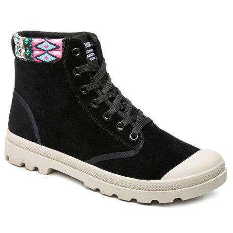 Sale Tribe Pattern Colour Block Tie Up Boots - 43 BLACK Mobile
