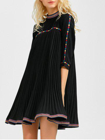 Trendy Embroidered Trim Pleated Mini Swing Dress