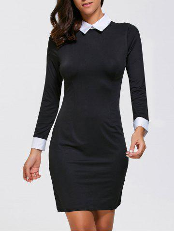 Buy Sheath Mini Long Sleeve Collared Dress BLACK XL