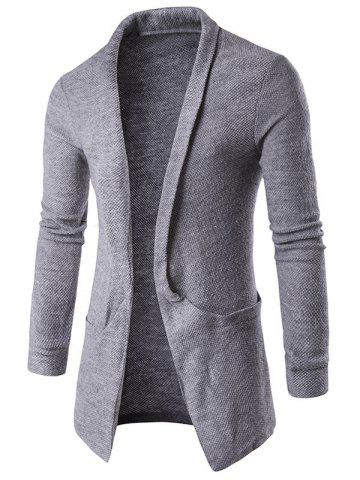 Latest Pocket Texture Open Front Cardigan GRAY 2XL
